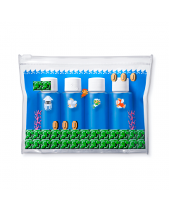 Super Mario Clear Pouch with Small Bottles Inside.