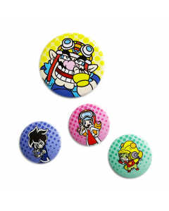 WarioWare badges featuring Wario, 9-Volt, Young Criket, and Mona